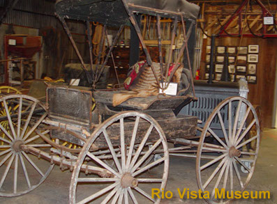 wagon at Rio Vista Museum in Rio Vista CA